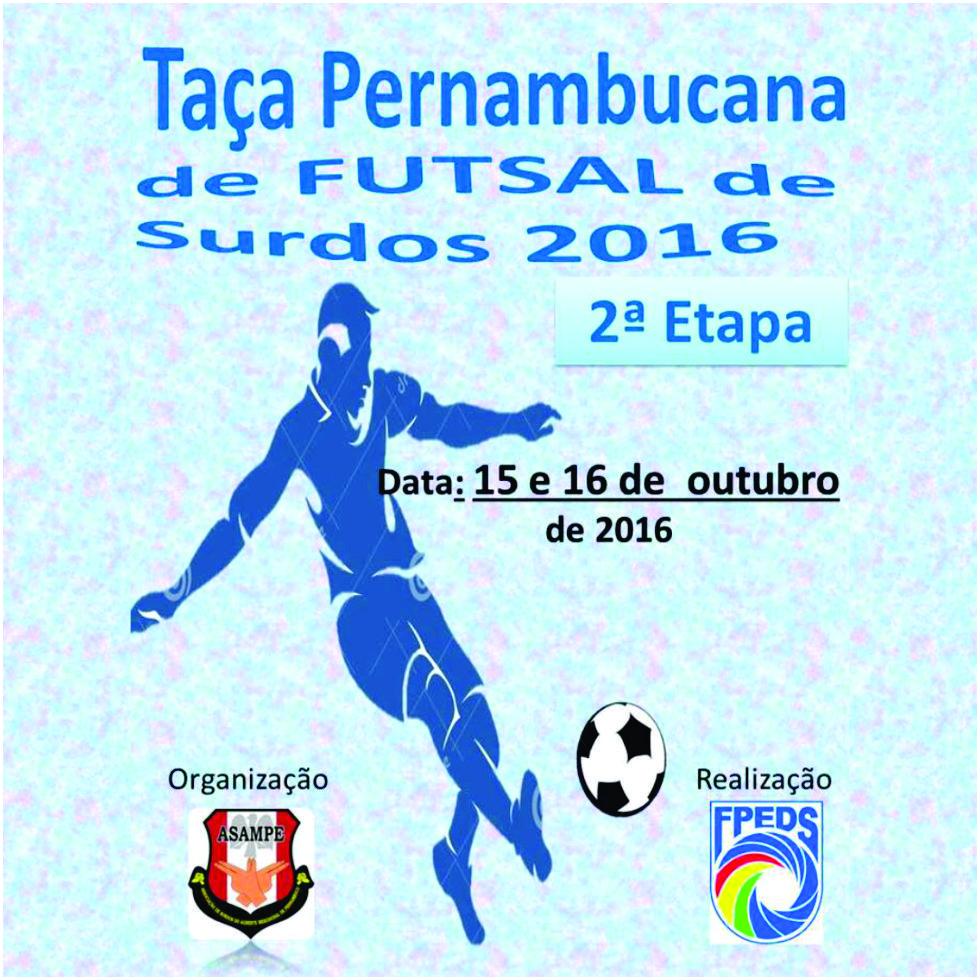 15 e 16-10-2016 Cartaz - 2 Taça Pernambucana de Surdos 2016
